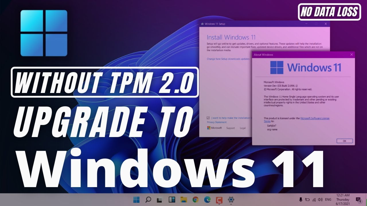 How to upgrade to Windows 11 without TPM 2.0